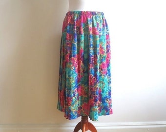 Multicolor Abstract  Baroque Print Accordion Pleated Midi Skirt Elastic Waist Oversized Green Red Yellow Blue