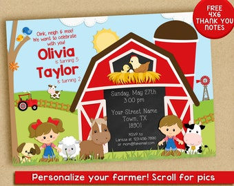 Farm Birthday Invitation, barnyard invitation, siblings, friends, cousins, boy and girl