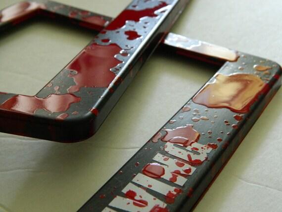 Walking Dead License Plate Frames Blood Splatter Fight the