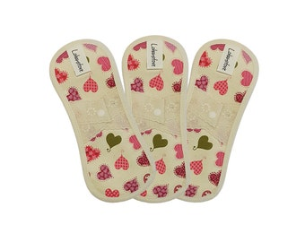"""7.5"""" Pure Cotton Reusable Cloth Menstrual Pads set with PUL / cloth pantyliner / cloth pads starter set - 3 Panty liners (Pink heart)"""