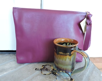 Leather Clutch / Soft Leather Clutch / Zippered Leather Clutch