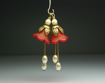 Bead Dangles Vintage Style Red Lucite Flowers Pair R931