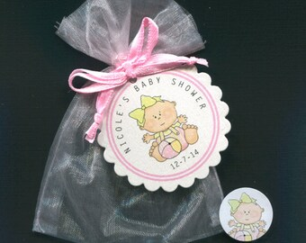 Personalized Baby Girl Baby Shower Favor Candy Bags, Baby Girl With Ball, Includes Tags, Candy Stickers, Pink Organza Bags, Set Of 20