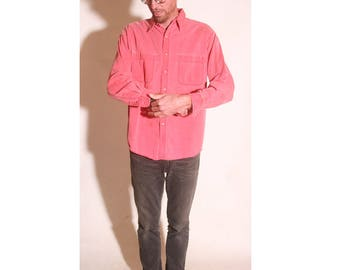 Vintage 1980s Salmon Button Down Mens Oxford Long Sleeve Light Denim Style Pocket Dress Shirt size L