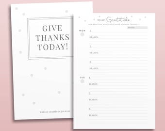 Weekly Gratitude Note, Printable Planner Inserts, Lifestyle planner, Positive Life Diary, Printable Planner Pages, Gratitude Journal Note