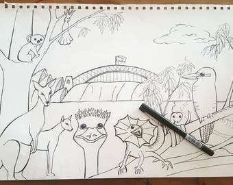 Australian Scene Colouring in Page