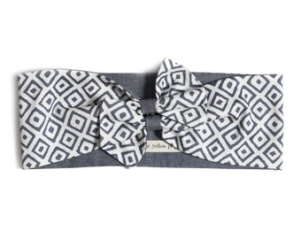 Wide headband for women, easy-on style – Reversible headband - Blue head wrap –Denim vintage headband –Turban headband –Pinup head scarf
