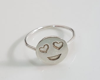 Heart eyes emoji ring, Silver smiley ring, funny ring, silver friendship ring