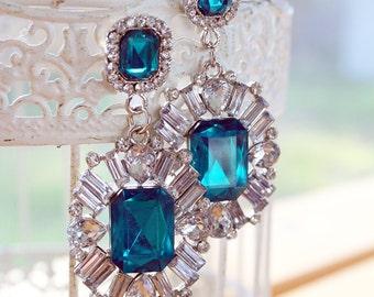 Diamond, Teal Topaz Medallion Art Deco Earrings of princess cut crystals and rhinestones (Bridal Jewelry) Vintage statement earring