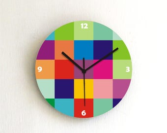 Bright bold Colorful geometric Wall clock,graphic designed decorative printed patterned wooden round numbers wall clock