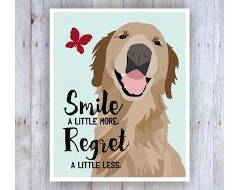 Golden Retriever Art, Golden Retriever Poster, Golden Retriever Decor, Dog Art, Dog Print, Inspirational Art, Smile More, Dog Wall Decor