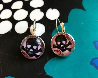 Pink Skulls and Roses cabochon earrings- 16mm