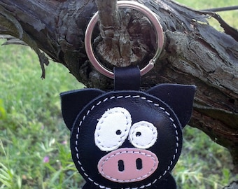 Leather Keychain Pig Black - FREE Shipping Wordlwide - Handmade Leather Pig Bag Charm