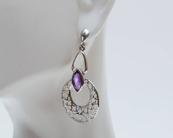 Use Code NEXT0RDER to get 10% off+ Free Shipping Amethyst Dangle Earrings, Amethyst Earrings, Sterling Silver Earrings, Handmade Jewelry