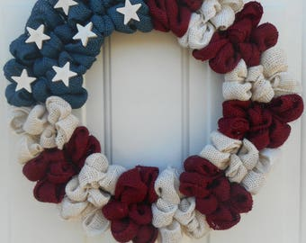 Americana wreath Americana burlap wreath Patriotic wreath Patriotic decor Memorial day wreath July 4th wreath Americana decor Ready to shipp
