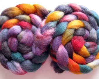 Radiant Rainbow, 16 ounces (1 lb) available - Romney Wool Roving (Top) - Handpainted Spinning or Felting Fiber, 4 ounces