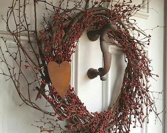 Farmhouse Wreath, Farmhouse Decor, Everyday Wreath, Front Door Wreath, Grapevine Wreath, Country Wreath, Heart Wreath, Country Home Decor