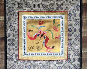 Vintage Chinese Embroidery on Silk, Antique Lined Panel, Geometric and Floral,Wall Decore