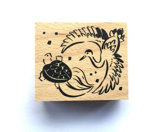 New Year Rubber Stamp -   Turtle Crane  Stamp-  Traditional Japanese Rubber Stamp -