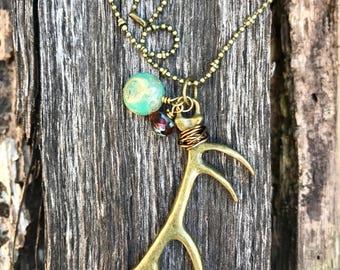 Large Antique Brass Antler Necklace