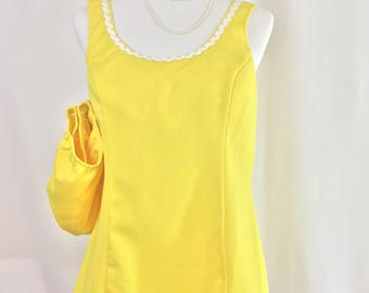 yellow tankini style swimsuit,swimsuit women,swimsuit one piece,swimsuit Sale,vintage swimsuit,vintage swimwear,vintage swim suit,swimsuit
