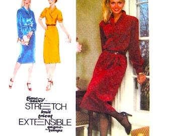 1970s Pullover Dress Pattern Simplicity 9196 Shawl Collar Long Sleeves Womens Sewing Pattern Size 10 12 14 UNCUT