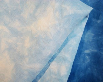Blue 30 count Hand Dyed Linen Cross Stitch Fabric, Evenweave Embroidery Fabric Cerulean 27X18