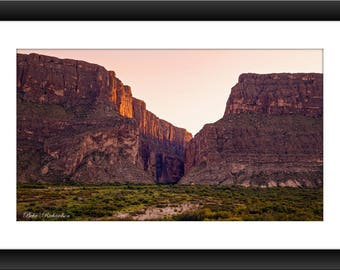 A Fine Art Print of Sunset at Santa Elena Canyon at Big Bend National Park, Texas, Photograph