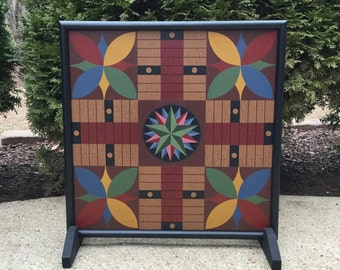 "19"", Parcheesi, Game Board, Wood, Folk Art, Hand Painted, Wooden, Game Boards, Board Game"