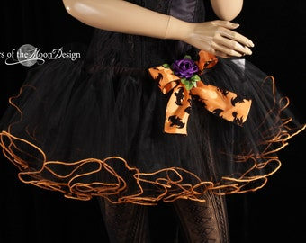 Orange trimmed tutu skirt adult ruffles halloween costume dance petticoat bow bats purple flower -Med -Ready to ship -Sisters of the Moon