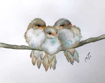 "Three Brothers Birds Original watercolor painting 11""x14"""