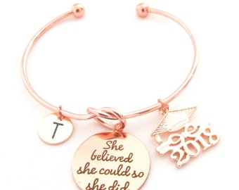 Graduation 2018 Jewelry,Gift for Graduate,College Grad Gift,Senior Student Gift,She Believed She Could, Gift for her,Free Shipping In USA