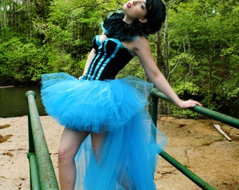 Hi low tulle tutu skirt Turquoise blue Wedding Formal bridal bustle fairytale dance prom costume  -You choose size-  Sisters of the Moon