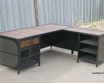 Marvelous Modern Industrial L Shaped Desk. Steel And Reclaimed Wood Desk With Return.  Modern Style