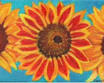 Sunflowers painting acrylic  4 x 6 original canvas, acrylic painting canvas art, sunflowers decor