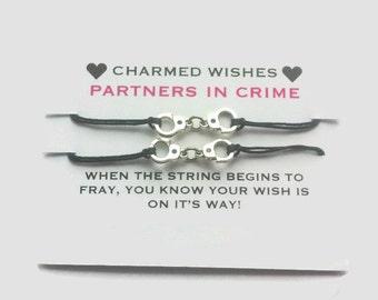 Partners in crime Bracelets, Best friends bracelets, Wish bracelet, BFF jewellery, BFF gifts, Friendship bracelet, Handcuff bracelet, BFF