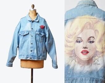 Vintage 90s Marylin Monroe Hand Painted Jean Jacket OOAK Grunge Biker Coat Trucker 1990s Blue Denim Custom Jacket medium large