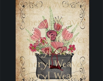 Floral Print in Kettle Vintage Style 8 by 10 Print by Cheryl Weaver Primitive Country Folk Art