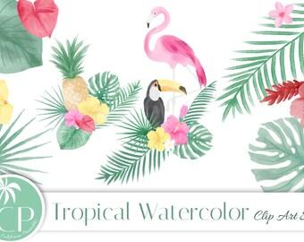 50% OFF Tropìcal Watercolor Clip Art Set - Set of 33 - Tropical Clip Art - Watercolor Clipart - Scrapbook - Instant Download