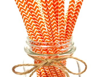 25 Orange chevron paper straws - // baby bridal shower decorations // candy dessert buffet table // wedding // First birthday/new year party