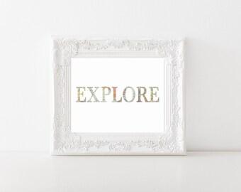 Explore World Map Printable, Digital Printable