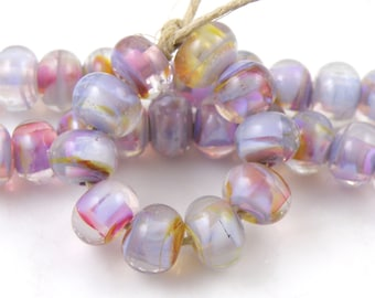 Chapel Window Swirls Made to Order SRA Lampwork Handmade Artisan Glass Spacer Beads Set of 10 5x9mm