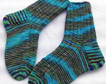 Hand Knit Socks  for Women UK 5-7, US 7-9  Piratenwolle handdyed