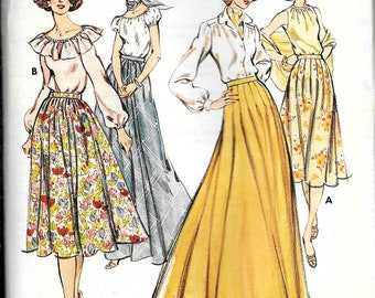 Vintage 1970s Kwik Sew Inverted Pleated Skirt Floor Length Or Calf Length Sewing Pattern UNCUT Size 6, 8, 10