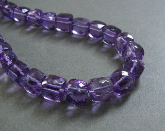 1\/2 Strand Amethyst Faceted Puff Cubes