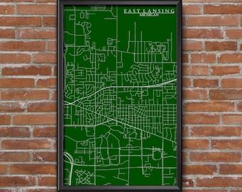 East Lansing, Michigan Map Art (Michigan State)