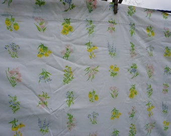 J.P. Stevens vintage double/full flat sheet 81 x 104, white background, striped with flowers in pink,blues, yellows, orange leaves in greens