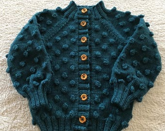 Frankie Cardigan hand knit in merino wool