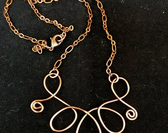 Copper Spiral Necklace, Copper Pendant Necklace 18 Inches Long, One of a Kind Previously 25 Dollars ON SALE