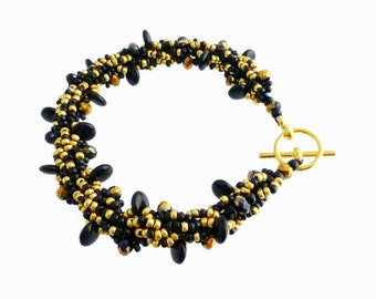 Black and Gold Beaded Rope Bracelet, Seed Bead Jewellery, Gift for Women, Elegant Bracelet